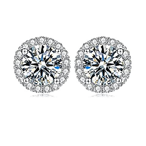 Jewel Encrusted Simulated diamond Sterling Silver Stud Earrings Ladies Micro