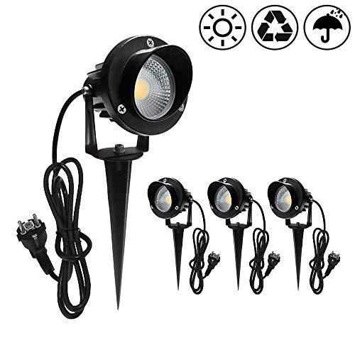 HENGMEI 7W x 4 Stück Gartenbeleuchtung COB LED Strahler mit Erdspieß IP65 Wasserdicht mit EU-Stecker Warmweiß Garten Scheinwerfer Gartenlampe