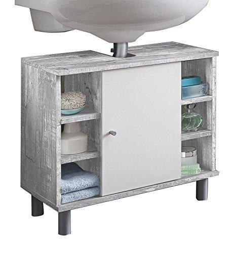 WILMES Badmöbel, Waschbecken, Badezimmerunterschrank, Unterschrank, Holz, Beton/Weiß Melamin Dekor, 32x60x54 cm -
