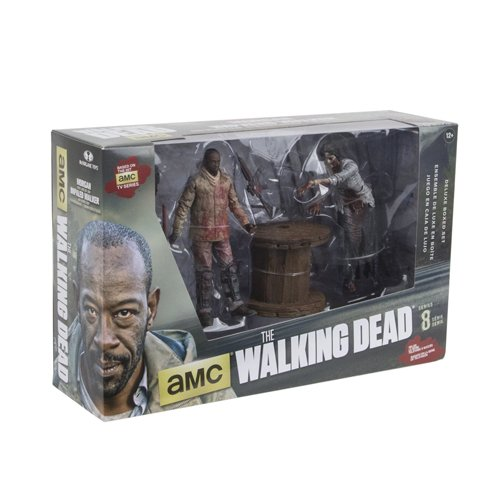 The Walking Dead Deluce Box Actionfigur Morgan Jones und Zombie mit Lanzenfalle