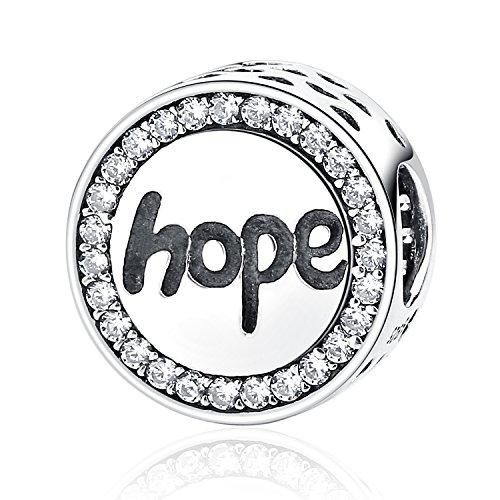 Sterling Silber Hoffnung inspirierender Charms Perlen Faith Charme mit Zirkon Charms Passform Schlange Kette Armbänder