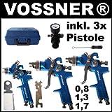 3x HVLP Lackierpistole Spritzpistole + Koffer 1,7 + 1,3 + 0,8 mm + Zubehör