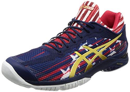 Asics Damen Tennis Schuh Gel Court FF Indigo Blue/Gold/Red/White, Blau (Schuhe Rich Gold)