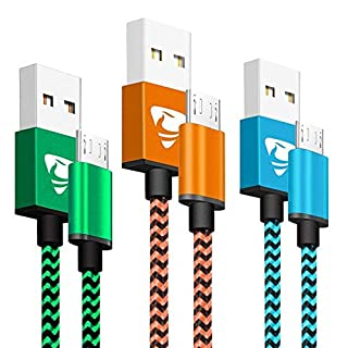 Micro USB Cable Xuduo Android Charger Cable [3-Pack, 3.3ft/1M] Nylon Braided Fast USB Charging Cable Compatible with Samsung, Huawei, Sony, Nexus, HTC, PS4 and More - Blue, Green, Orange