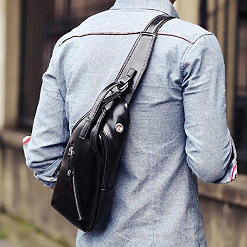 LAIDAYE Männer Messenger Beiläufige Schulterbeutel Geschäftspaket Schulterbeutel Kastenbeutel Black
