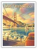 San Francisco, Californie - Pont du Golden Gate - Péninsule des Marin Headlands - Affiche ancienne vintage tourisme voyage du monde mondial Poster by Kerne Erickson - Reproduction Professionelle d'art Master Art Print - 23cm X 31cm...