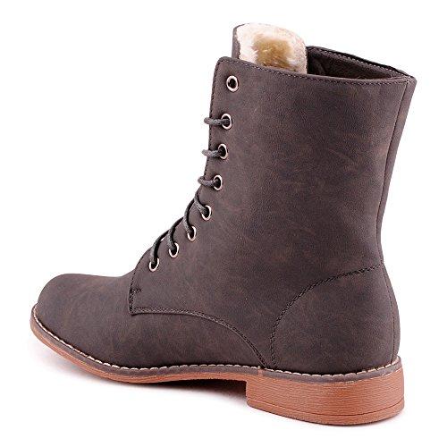 Damen Stiefeletten Blockabsatz Stiefel Warm Gefüttert Schnür Biker Boots Schuhe Grau