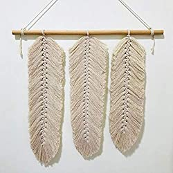 Tapiz de Macramé plumas de cuerda de algodón