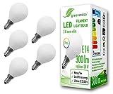 5x greenandco CRI 90+ Glühfaden LED Lampe ersetzt 28 Watt E14 G45 Globe matt, 3W 300 Lumen 2700K warmweiß Filament Fadenlampe 360° 230V AC nur Glas, nicht dimmbar, flimmerfrei, 2 Jahre Garantie