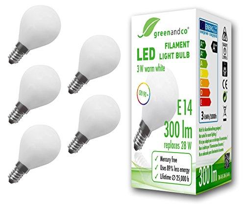 5x greenandco® CRI 90+ Glühfaden LED Lampe ersetzt 28 Watt E14 G45 Globe matt, 3W 300 Lumen 2700K warmweiß Filament Fadenlampe 360° 230V AC nur Glas, nicht dimmbar, flimmerfrei, 2 Jahre Garantie (Mini-kugel-leuchten)