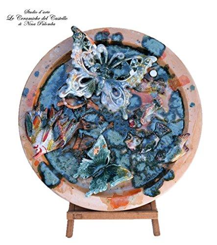 Piatto da muro artistico ceramica handmade le ceramiche del castello nina palomba made in italy dimensioni 45 x 45 cm pezzo unico