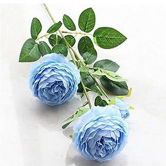 Tikkii Ramo de peonías Artificiales, 3 Cabezas de Hojas de Flores de Seda con Tallo de plástico para decoración del hogar o Boda