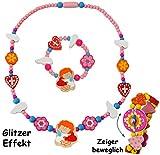 alles-meine.de GmbH 2 TLG. Set _ Kette + Armband -  Engel - Blumen - Herzen / bunt  - aus Holz - Schmuck / Perlenkette - Bunte Holzperlen / Perlen - Kinderschmuck - Halskette -..
