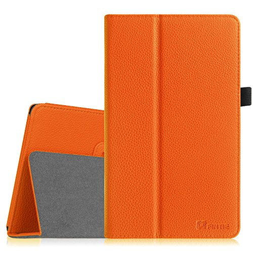 Dell Venue 8 Pro Hülle Case - Fintie Folio Case Schutzhülle Etui Tasche mit Stylus-Halterung für Dell Venue 8 Pro 5000 Series/New Venue 8 Pro 3000 Series (2014) Windows 8.1 Tablet, Orange