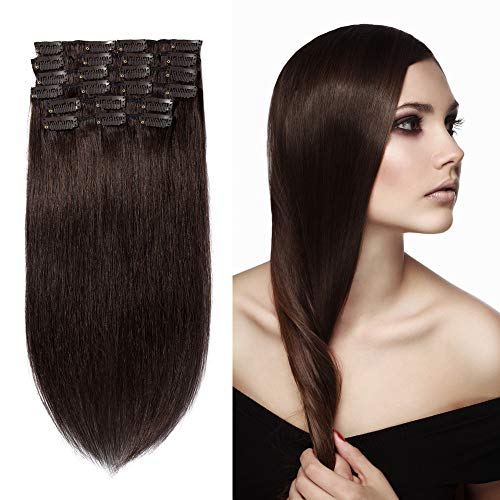 10 Pcs Extension Cheveux a Clip Naturel en Lot Volume Moyen #02 Brun foncé - 100% Human Hair Extensions Clip in Remy - 14\\