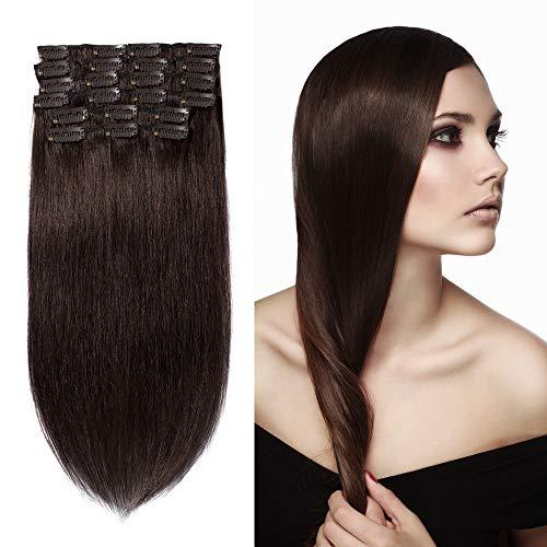 10 Pcs Extension Cheveux a Clip Naturel en Lot Volume Moyen #02 Brun foncé - 100% Human Hair Extensions Clip in Remy - 14\\
