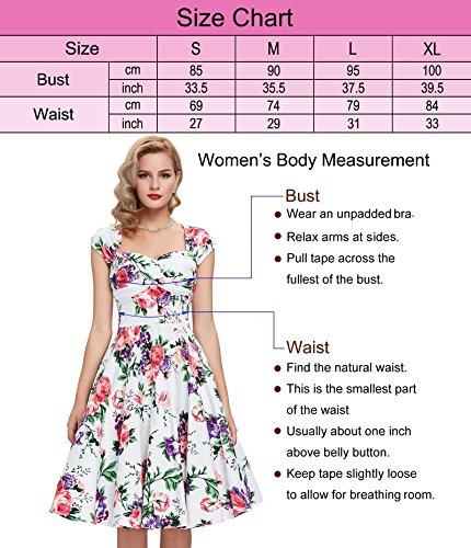 50s Kleid Partykleid A-Linie Picknick Kleid Knielang Casual Kleid M BP093-1 -
