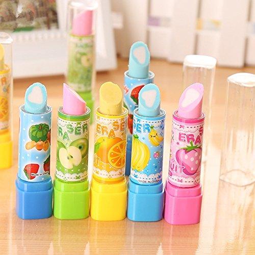 Haodou 4 PCS Neuheit Lippenstift Form Radiergummi Lustig Spielzeug für Kinder Geburtstag Kreatives...