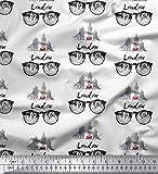 Soimoi Weiß Baumwolljersey Stoff Ich Liebe London Text Dekor Stoff gedruckt 1 Meter 58 Zoll breit