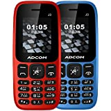 Adcom J3 Mobile Phone (Red And Blue) - Pack Of 2