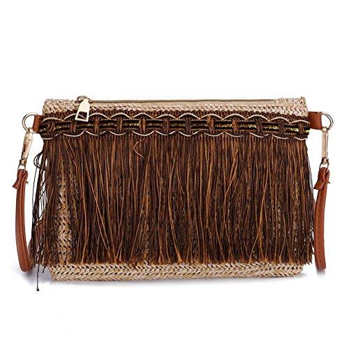 Ningsun donna vintage borsa a tracolla borse a spalla tessute messenger bag colore puro tessere borsa a mano borsa a tracolla tracolla donna estive borse (1pc, cachi)