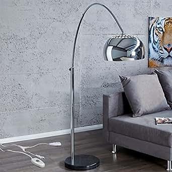 r tro lampe big bow argent avec variateur d 39 intensit lampe sur pied. Black Bedroom Furniture Sets. Home Design Ideas