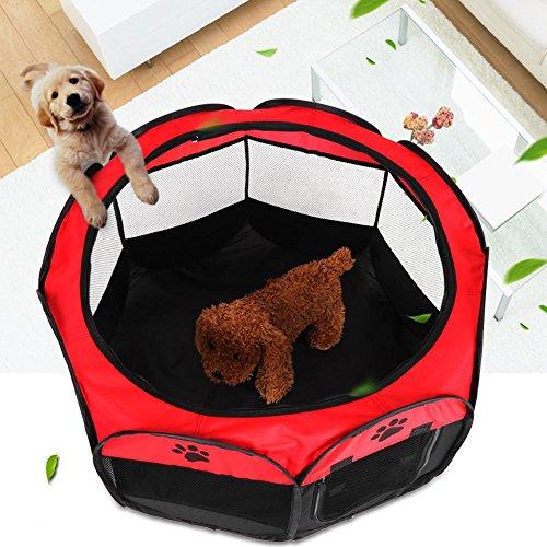 GOTOTOP Welpenlaufstall, tragbare Faltbare Tierlaufstall Hundezelt Laufstall für Hunde, 81 x 45cm (Rot)
