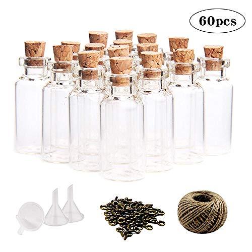 l Mini Glasflaschen Wunsch Flaschen mit Korken klein Glasfläschchen mit 60 Ringschrauben und 30 Meter Bindfaden und 3 Trichter ()
