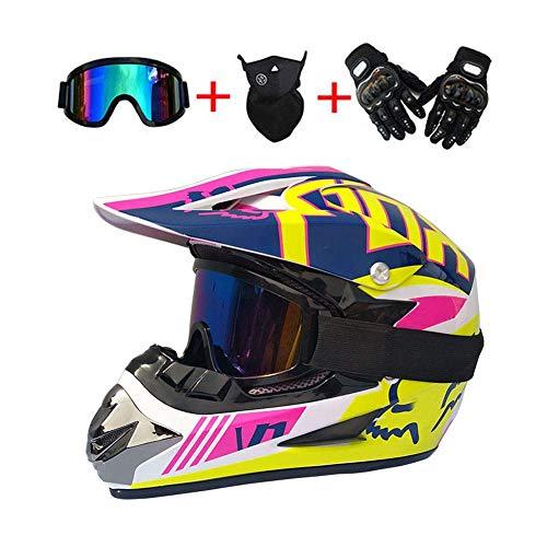 MY1MEY Motocross Motorräder Helm - Herren Motorradhelm mit Brillen Handschuhe Maske, Motorrad Off-Road-Helm Enduro Quads Motorcycle Crosshelm für Erwachsene Männer Frauen