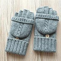 LPFS Guantes Otoño e Invierno Lana Mujer Medio Dedo pequeña Tapa Doble Engrosamiento más Terciopelo Pantalla táctil Guantes fríos cálidos (Color : Gray)