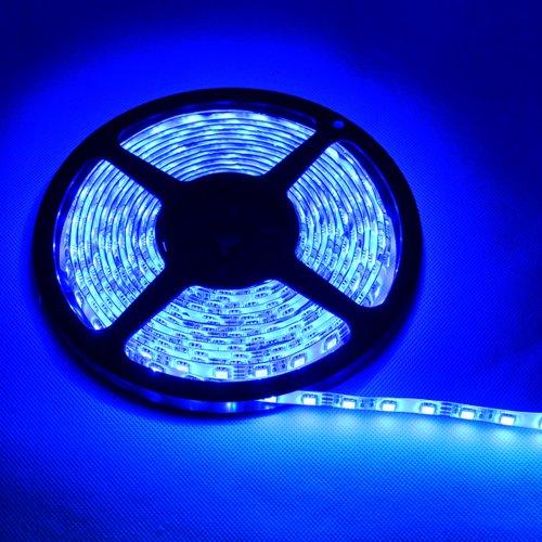 TKOOFN 5m 500CM Azul 5050 300 SMD LED Strip LED Tira + Adaptador 12V 6A 72W - impermeable (Azul) - PL704A+EU