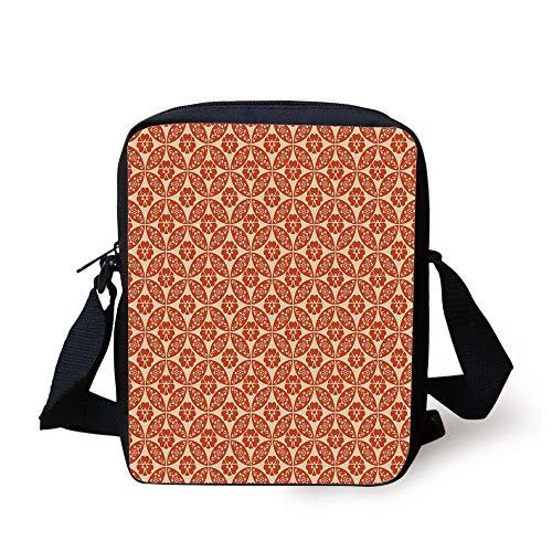 Geometric,Japanese Classic Floral Motif Interlocking Lattice Circles Pattern Design,Vermilion Cream Print Kids Crossbody Messenger Bag Purse -
