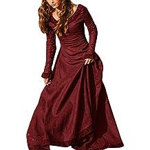 GladiolusA Mujer Vestido Gótico Vestido Medieval Vintage Vestido De Princesa Renacentista Rojo 2XL