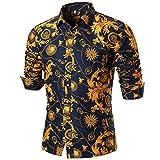 UJUNAOR Persönlichkeit Männer Sommer Casual Langarm Bedruckte Shirt Top Bluse(XL,Multicolor 1)