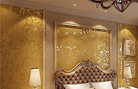 H&M Wallpaper Vlies Retro Pastoral Damast 3D Relief wasserdicht Tapete Dekoration Schlafzimmer TV Wand Wohnzimmer Tapete -53 cm (W) * 10 m (L) , gold