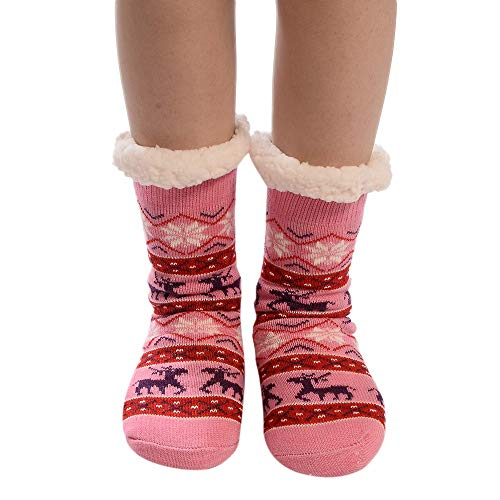 a4bf1c2b1 friendGG Women's Cotton Socks Print Thicker Anti-slip Floor Socks Carpet  Socks Thermal Fleece Lined