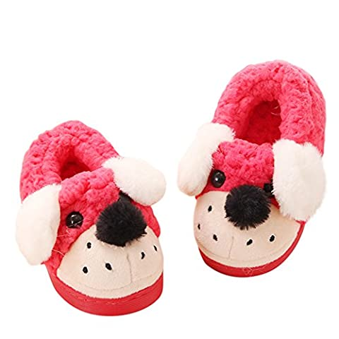 Pingenaneer Toddler Girl's Boy's Warm Winter Non-slip Slipper Cartoon Dog Anti-Skid Shoes