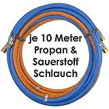 Propan Sauerstoff Gasschlauch Zwillingsschlauch 10 Meter - Semperit Profi Gummischlauch zum autogen schweißen oder schneiden - Semperit Profiqualität von Gase Dopp