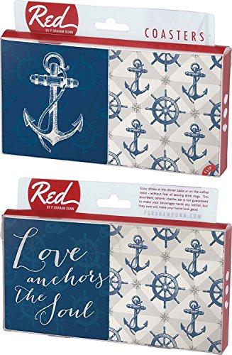 Love Verankert das Soul mit nautischem 4Stück saugfähiges Keramik Untersetzer-Set -