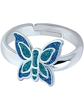 SL-Silver Mädchen Damen Ring bunter Schmetterling Grösse einstellbar 925 Sterling Silber in Geschenkverpackung