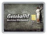 """1g Goldbarren 999,9 Feingold in Motivbox """"Geschafft Herzlichen Gl&uuml"""