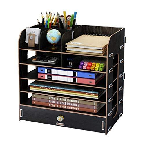 Unbekannt Bürobedarf Große Desktop-Multi-Layer-Schublade Aufbewahrungsbox Holz Aktenständer Kreative Datei Box Holz Lagerung,C,EIN Bücherregal (Datei Schublade Bücherregal)