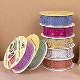 Motif Multicolor Washi dentelle Glitter auto-adhésif autocollant dentelle Ruban pour bricolage Artisanat et décoration, Ensemble de 7