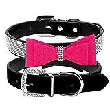 Lushpetz Hundehalsband mit Fliege mit Strass Sparkly Diamante Design by für Kleine und mittlere Hunde (Mittel, Pink und Schwarz)