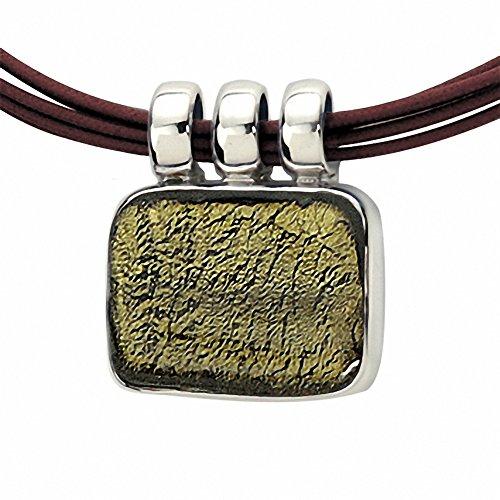 """Gabriella Nanni, collier en coton ciré avec centrale en argent 925et verre de Murano-Verre Non déclaré-Collier Rectangle """" olive"""