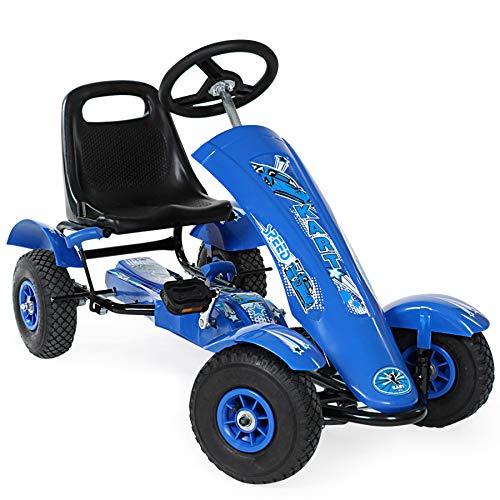 TecTake 800123 Kinder Go-Kart im Racing Design, Vor-und Rückwärtsgang, Achsen und Räder mit Kugellager - Diverse Farben - (Blau | Nr. 401031)