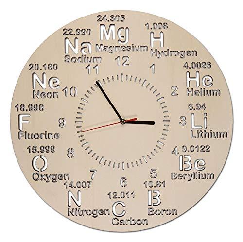 Holz Wanduhr Periodensystem Geschenke Chemie Wissenschaft Geschenkartikel für Studenten Schüler