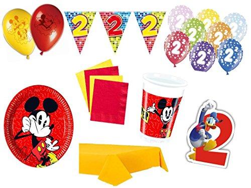 XXL Party Deko Set 2.Geburtstag Mickey Mouse Kindergeburtstag für 8 Personen rot gelb Junge Party Geschirr Party Deko