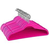 Zober Premium calidad Ahorro de espacio perchas de terciopelo fuerte y Durable, Capacidad de hasta 10kg–360Grado gancho giratorio de cromo–Ultra Thin Non Slip traje perchas,–50unidades (rosa)
