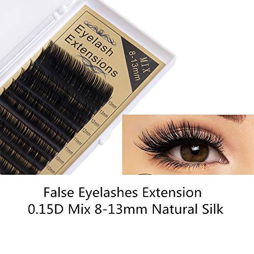 5afe2d2f725 Frenshion 3D Handmade False Eyelashes Extensión de pestañas de injerto,  0.15D Mix 8-